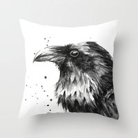 Raven Watercolor Throw Pillow