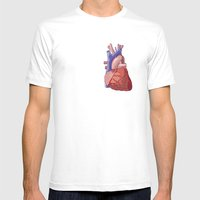 Vector Heart Mens Fitted Tee White SMALL