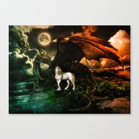IT TAKES A DRAGON TO EARN TRUST OF A UNICORN Canvas Print
