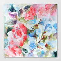 Peonies And Morning Glor… Canvas Print