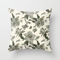 Black Magnolia Pattern Throw Pillow