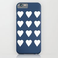 iPhone & iPod Case featuring 16 Hearts White on Navy by Project M