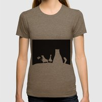 Meow Cat Womens Fitted Tee Tri-Coffee SMALL