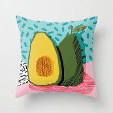 Choice - wacka memphis throwback retro neon fruit avocado vegetable vegan vegetarian art decor Throw Pillow
