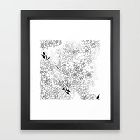 Succulents, black and white Framed Art Print