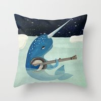 Narwhal's Aquarelle - Na… Throw Pillow