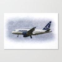 Tarom Airbus A318 Art Canvas Print