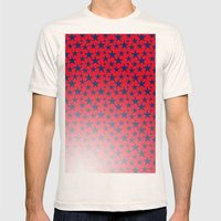 Blue stars on bold red background illustration. Mens Fitted Tee Natural SMALL