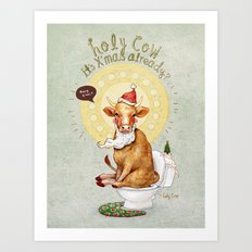 Holy Cow-Christmas Edition Art Print