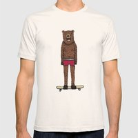Bear + Skateboard Mens Fitted Tee Natural SMALL