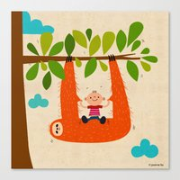 sloth swing Canvas Print