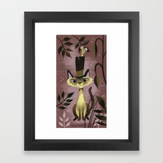 Mouse On A Hat And A Siamese Cat Framed Art Print