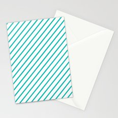 Diagonal Lines (Tiffany Blue/White) Stationery Cards