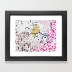 Owls and Flowers  Framed Art Print