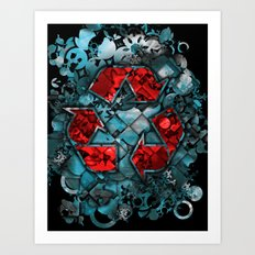 Recycle World - Blue Art Print