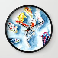 Wall Clock featuring Koi  by Bridget Davidson