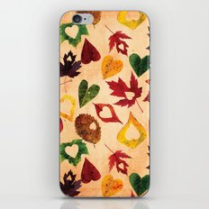 Happy autumn- hearts and leaves pattern iPhone & iPod Skin