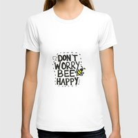 BEE Happy Womens Fitted Tee White SMALL