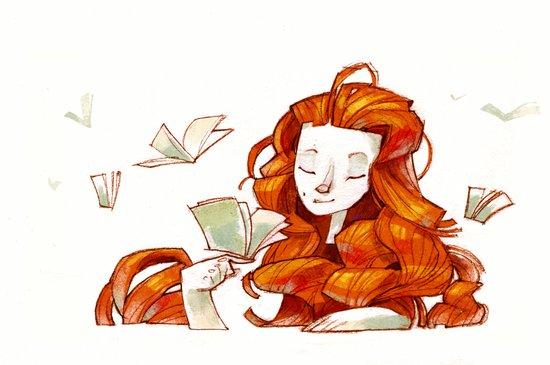Red hair muse Art Print