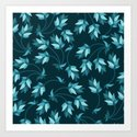 Floral blue pattern Art Print