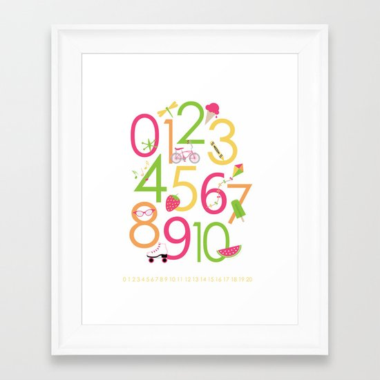 Counting / Numbers for Girls Framed Art Print