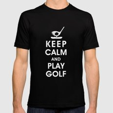 Keep Calm and Play Golf Black SMALL Mens Fitted Tee