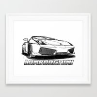 Lamborghini line drawing Framed Art Print