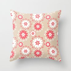 Coral Floral Throw Pillow
