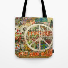 Peace Sign - Love - Graf… Tote Bag