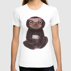 Sloth I♥lazy Womens Fitted Tee White SMALL