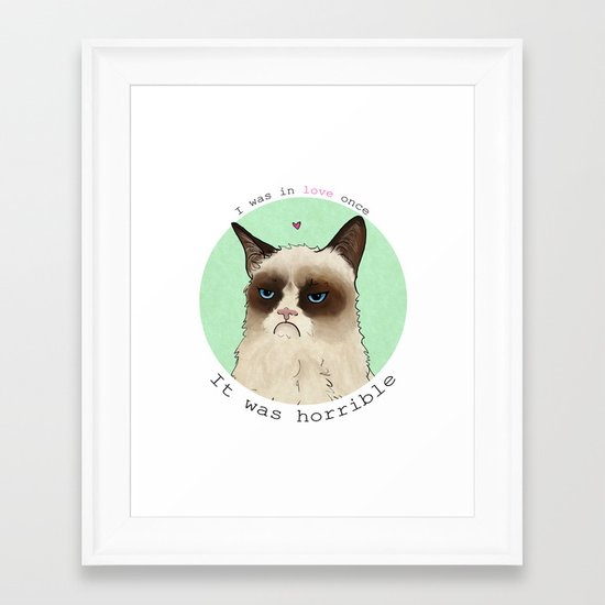 Grumpy cat love Framed Art Print