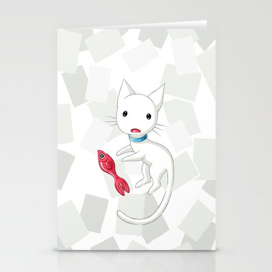 Cat and Fish Stationery Card