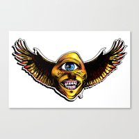 Happy Cycloptic Dog Eagle with a Stache Canvas Print