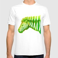 Zebra Watercolor Print Mens Fitted Tee White SMALL