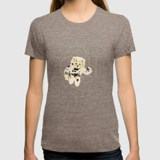 Space Cat Womens Fitted Tee Tri-Coffee SMALL