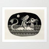 She Traveled By Sea Dragon Art Print