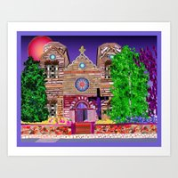 jesus painted purple Art Print