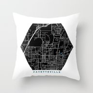 Fayetteville City Map Bl… Throw Pillow
