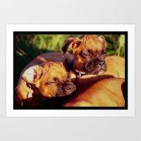 Weary Pups In The Evenin… Art Print