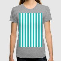 Vertical Stripes (Tiffany Blue/White) Womens Fitted Tee Tri-Grey SMALL