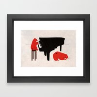 A Sleepy bear playing piano Framed Art Print
