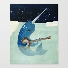 Narwhal's Aquarelle - Narwhal Plays Banjo Canvas Print