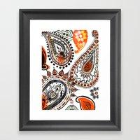 Orange & Black Paisley Framed Art Print