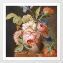 Peonies and snails Art Print