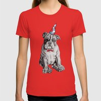 Party Dog Womens Fitted Tee Red SMALL