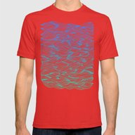 Ombré Waves Mens Fitted Tee Red SMALL