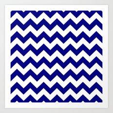Chevron (Navy Blue/White) Art Print
