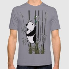 Panda Bamboo Feeding Mens Fitted Tee Slate SMALL