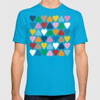 Up and Down Hearts on Grey Mens Fitted Tee Teal SMALL