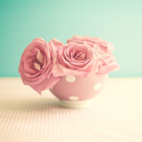 Soft Pink Roses on Polka Dots Bowls Art Print